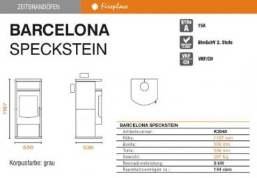 kaminofen fireplace barcelona speckstein. Black Bedroom Furniture Sets. Home Design Ideas