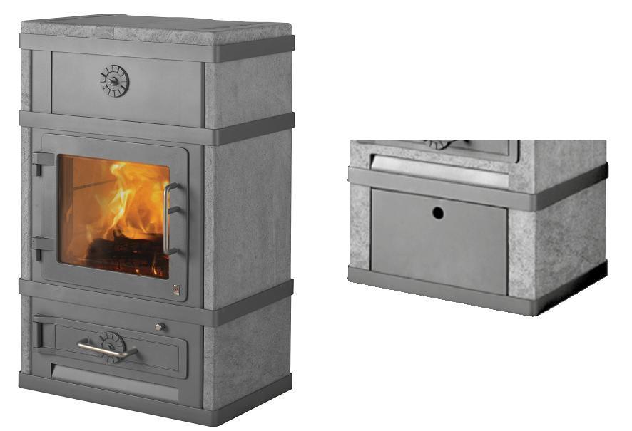 kaminofen lotus 2080 2680 grau grundmodell mit brennholzfach 8 kw. Black Bedroom Furniture Sets. Home Design Ideas