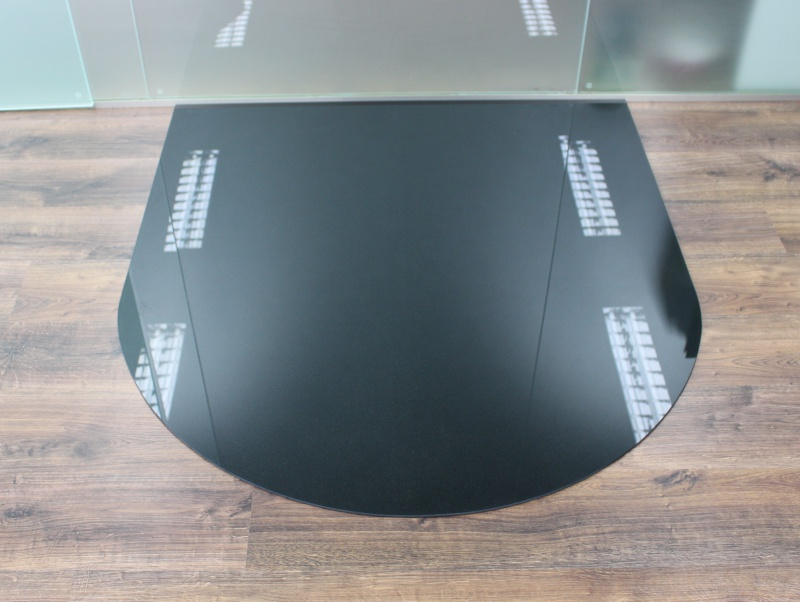 Tür Rundbogen Glas ~ Rundbogen 120x130cm Glas schwarz  Funkenschutzplatte Kaminbodenplatte