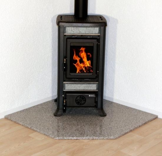 eck kaminofen funkenschutzplatte bodenplatte f nfeck 1a echter granit ebay. Black Bedroom Furniture Sets. Home Design Ideas