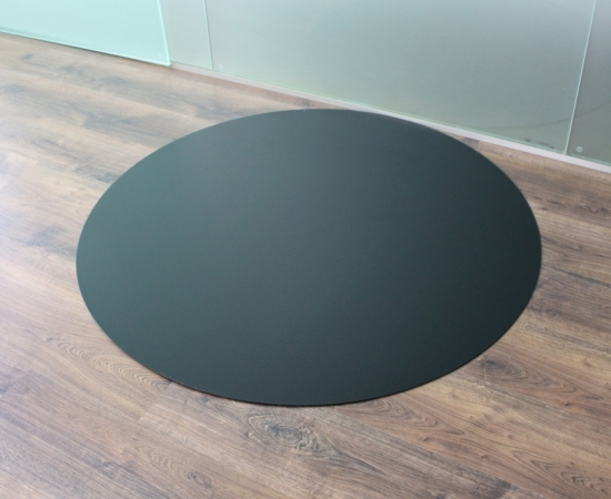 kreis 110cm schwarz metall funkenschutzplatte kaminbodenplatte kaminofen stahl ebay. Black Bedroom Furniture Sets. Home Design Ideas