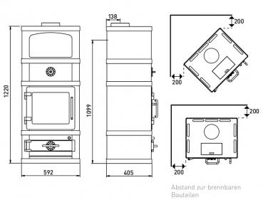 eek a kaminofen lotus 2080 2280 speckstein grau grundmodell mit warmhaltefach 8 kw. Black Bedroom Furniture Sets. Home Design Ideas