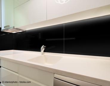 Glas schwarz - Glas-Küchenrückwand Spritzschutz Herd Fliesenspiegel ...