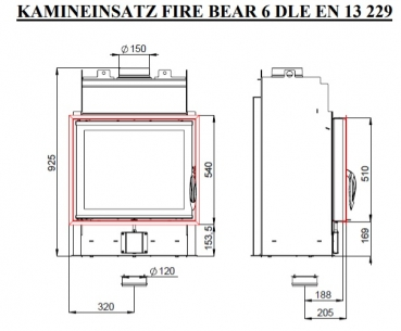 eek a kamineinsatz fire bear 6 mit rr 150 mm. Black Bedroom Furniture Sets. Home Design Ideas