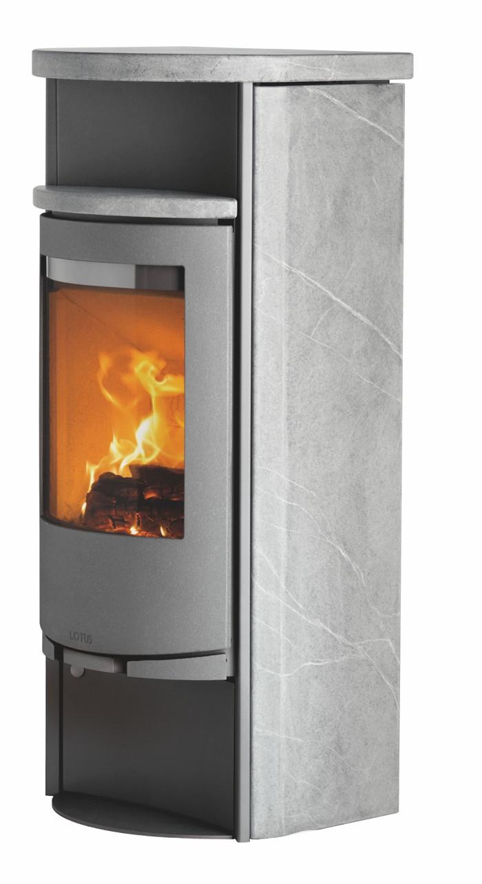 kaminofen lotus 9080 grau speckstein 5 kw. Black Bedroom Furniture Sets. Home Design Ideas