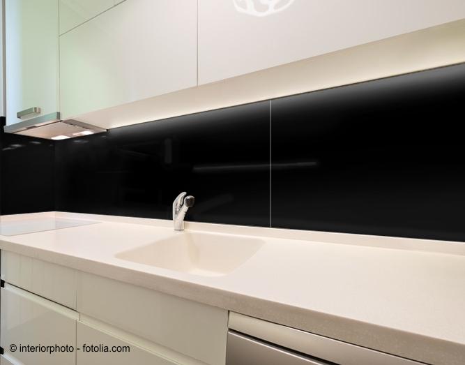 110x40cm Glas schwarz - Glas-Küchenrückwand Spritzschutz Herd ...