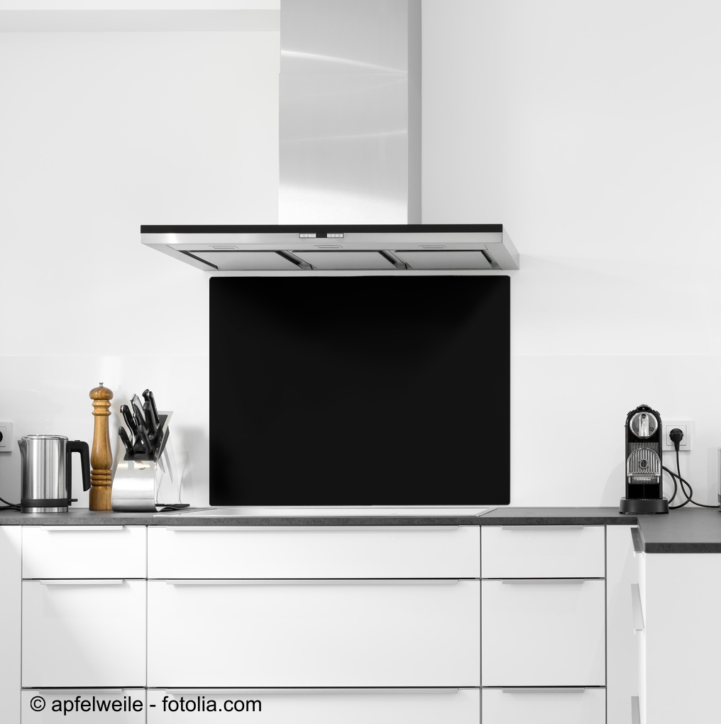 19x19cm Glas schwarz - Glas-Küchenrückwand Spritzschutz Herd Fliesenspiegel  Glasplatte Rückwand