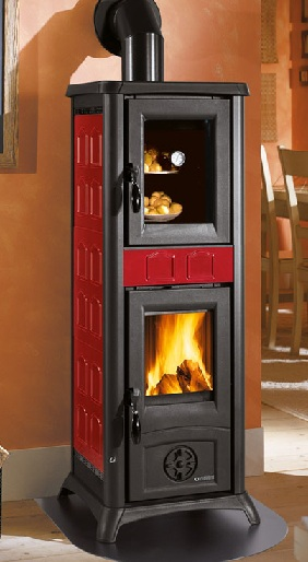 Extremely Kaminofen La Nordica Gemma Forno mit Backfach Bordeaux - 6,5 kW IC96