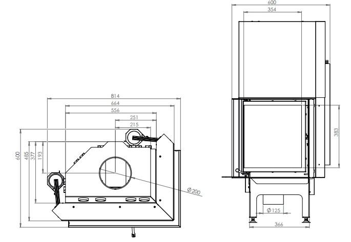 eek a eck kamineinsatz hitze albero al11rg h mit schiebet r seitenglas rechts 11kw. Black Bedroom Furniture Sets. Home Design Ideas