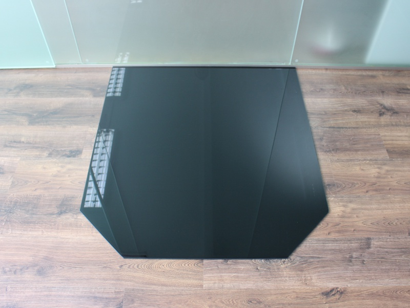 sechseck 120x130cm glas schwarz funkenschutzplatte. Black Bedroom Furniture Sets. Home Design Ideas