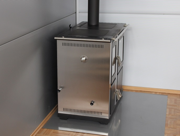 Dauerbrand Küchenofen Holz- u. Kohleherd Teba TKS-18, Edelstahl 5-11KW