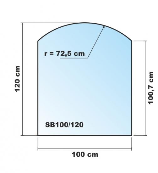 segmentbogen 100x120cm glas schwarz funkenschutzplatte. Black Bedroom Furniture Sets. Home Design Ideas