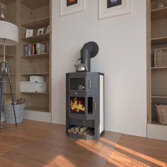 eek a kaminofen mit backfach herdplatte victoria taro f. Black Bedroom Furniture Sets. Home Design Ideas