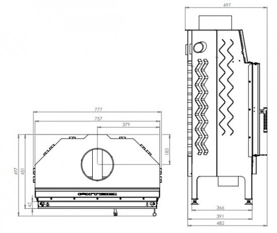 eek a kamineinsatz hitze albero al16s h 16kw. Black Bedroom Furniture Sets. Home Design Ideas
