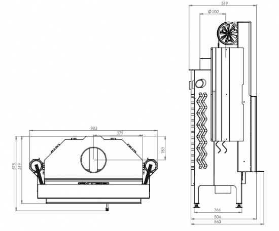 eek a kamineinsatz hitze albero al16g h mit schiebet r 16kw. Black Bedroom Furniture Sets. Home Design Ideas