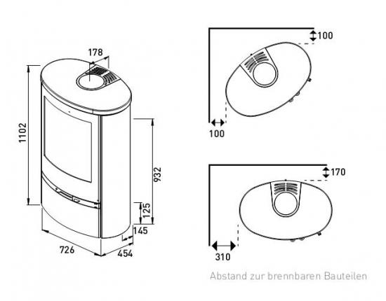 eek a kaminofen lotus jubilee 35 s speckstein mit holzfacht r schwarz 7 kw. Black Bedroom Furniture Sets. Home Design Ideas