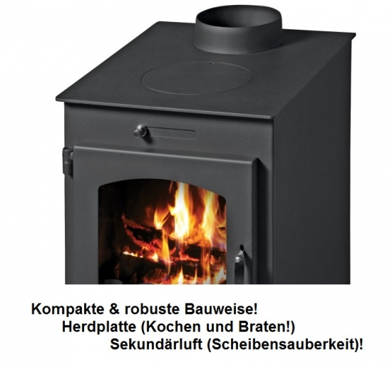 kaminofen victoria bora c mit herdplatte kochfunktion werkstattofen 9 5kw ebay. Black Bedroom Furniture Sets. Home Design Ideas